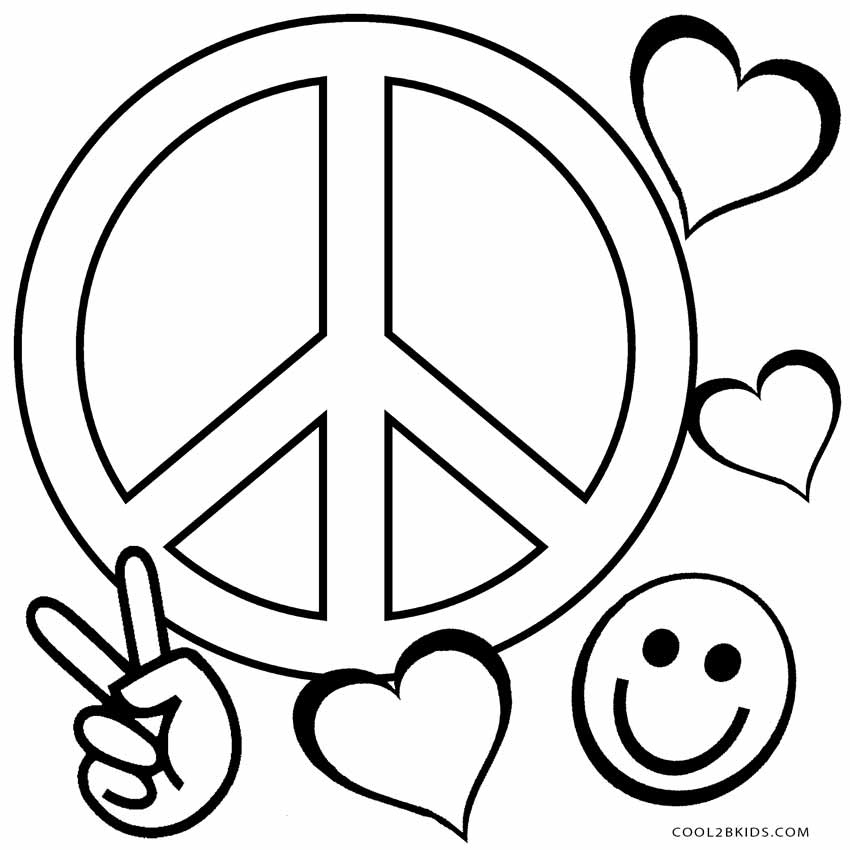850x850 Printable Coloring Pages Of Peace Signs