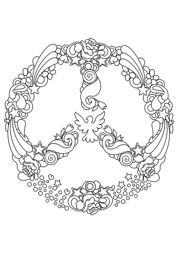 595x842 Trendy Inspiration Ideas Peace Sign Coloring Pages Adult Cool