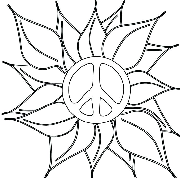 736x731 Coloring Peace Sign Coloring Flower Power Pages Heart Peace Sign