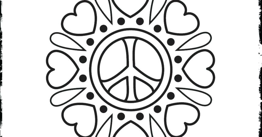 860x450 Coloring Pages Peace Sign