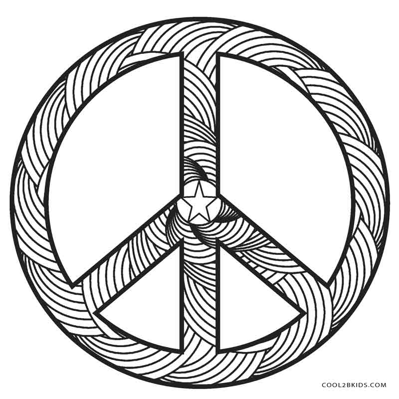 800x800 Free Printable Peace Sign Coloring Pages Hearts And Inside Page