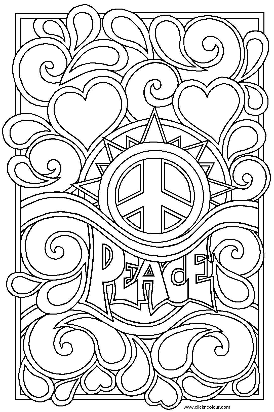 1089x1636 Heart Coloring Pages For Teenagers Peace And Love Colouring