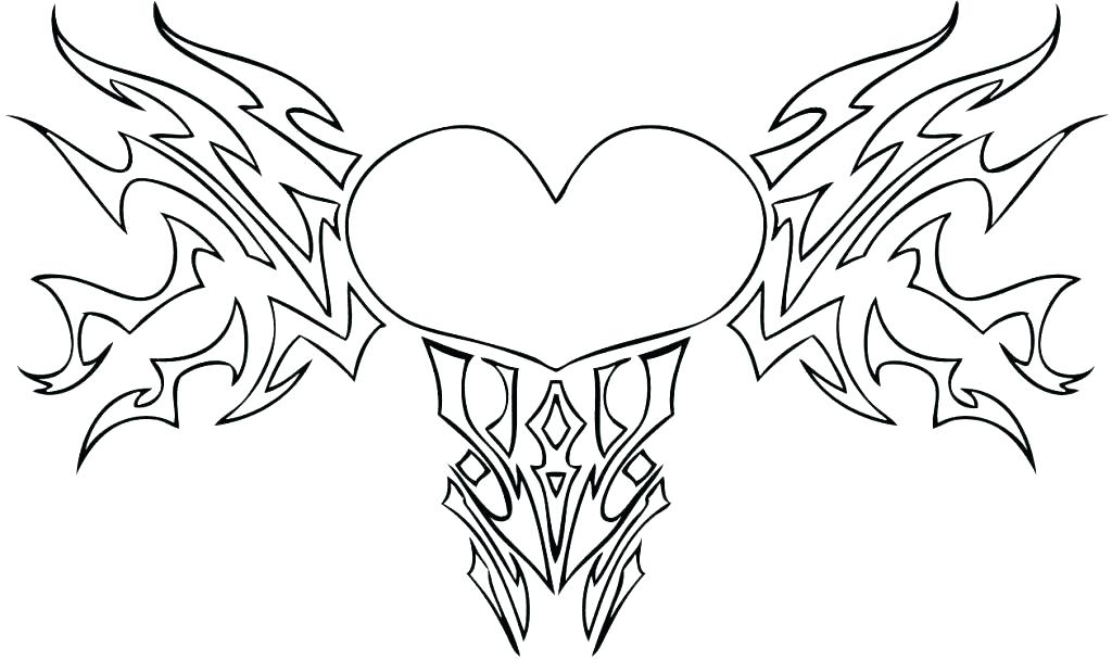 1024x607 Hearts With Wings Coloring Pages Heart Coloring Page Heart