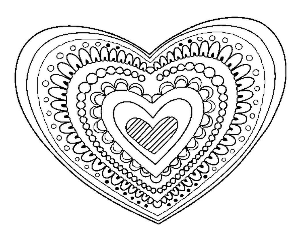 1048x821 Impressive Design Free Heart Coloring Pages Black And White