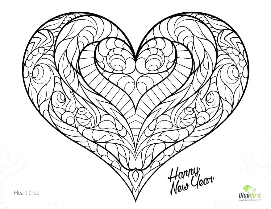 878x678 Coloring Pages Of A Heart Coloring Collection