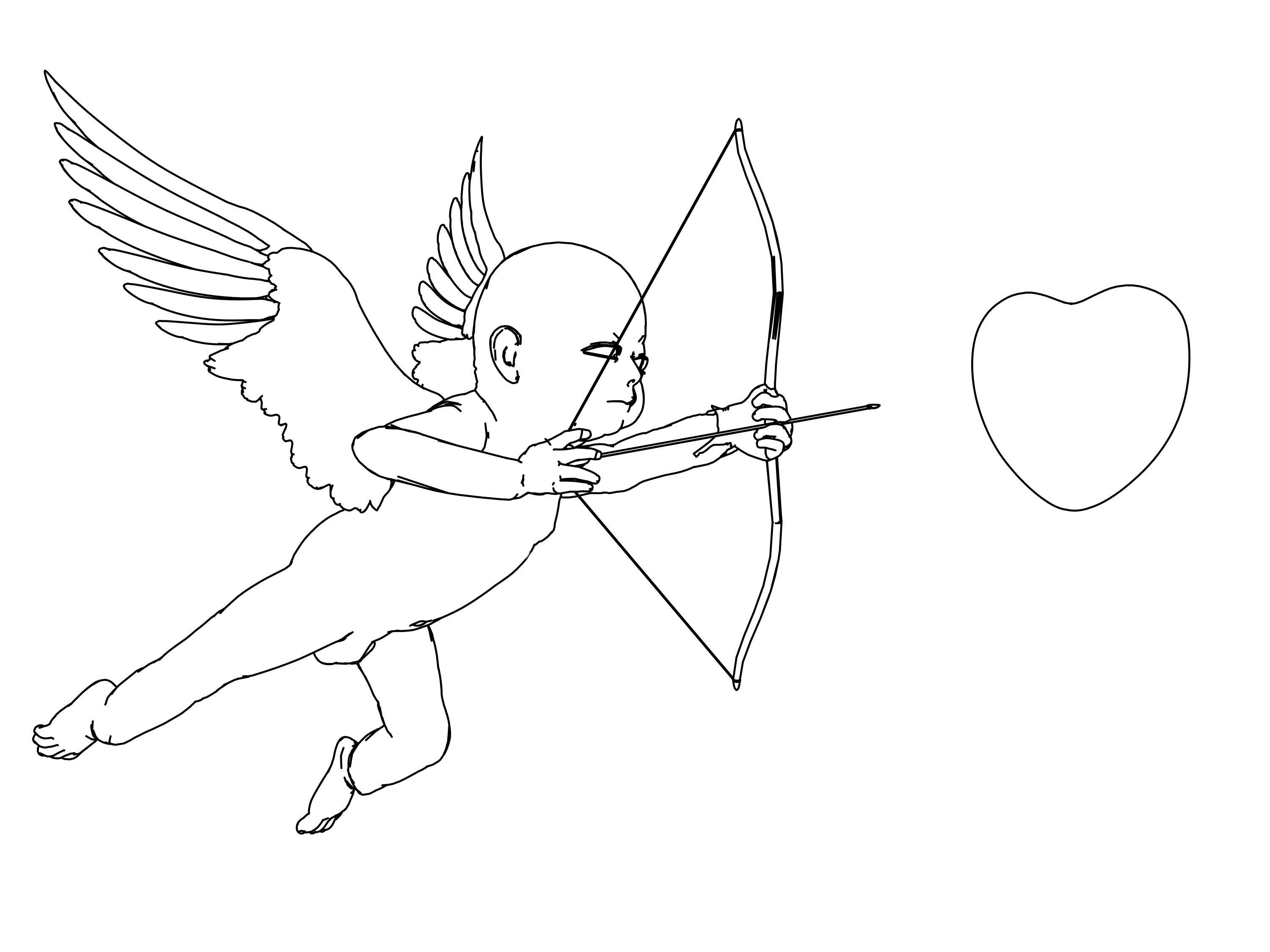 3000x2250 Eros And Heart Arrow Coloring Page Wecoloringpage