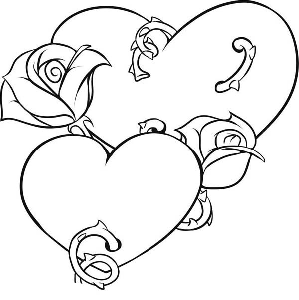 600x602 Heart And Roses Coloring Pages Picture Of Hearts And Roses