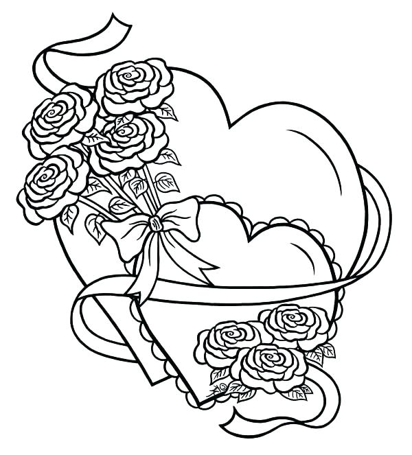 600x663 Valentine Heart With Arrow Coloring Pages Coloring Pages Of Hearts
