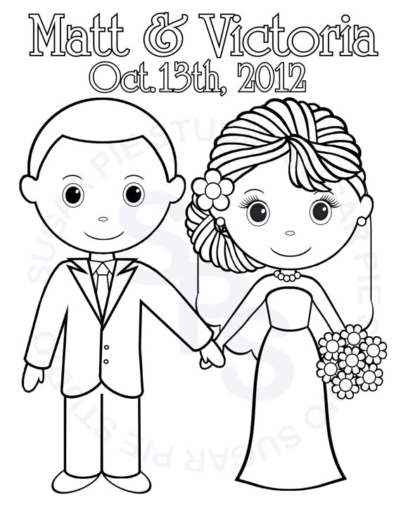 570x738 Bride And Groom Coloring Pages Wedding For Kids