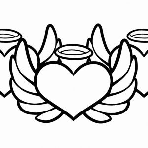 300x300 Coloring Pages Hearts With Wings And Roses New Heart With Wings
