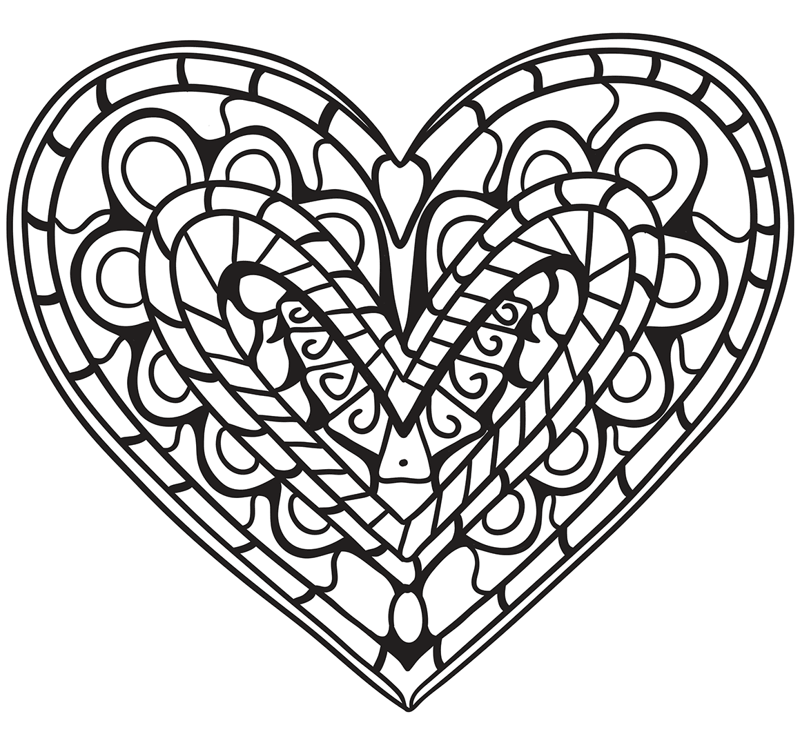 1159x1080 Coloring Sheets With Hearts Heart Pages Marvelous For Kids Anatomy