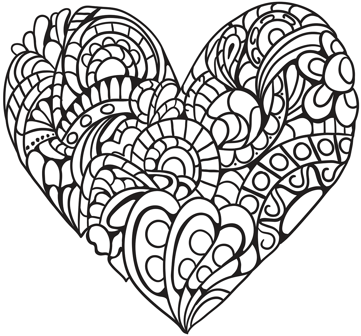1159x1080 Coloring Pages Heart Hearts With Wings Valentine Health Book