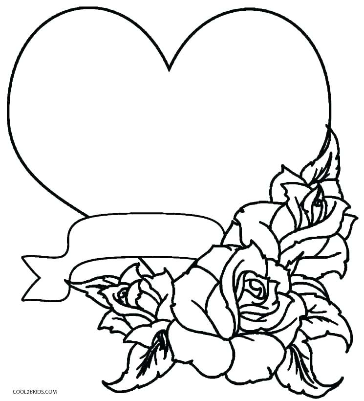 745x820 Coloring Pages Hearts And Roses Heart And Roses Coloring Pages