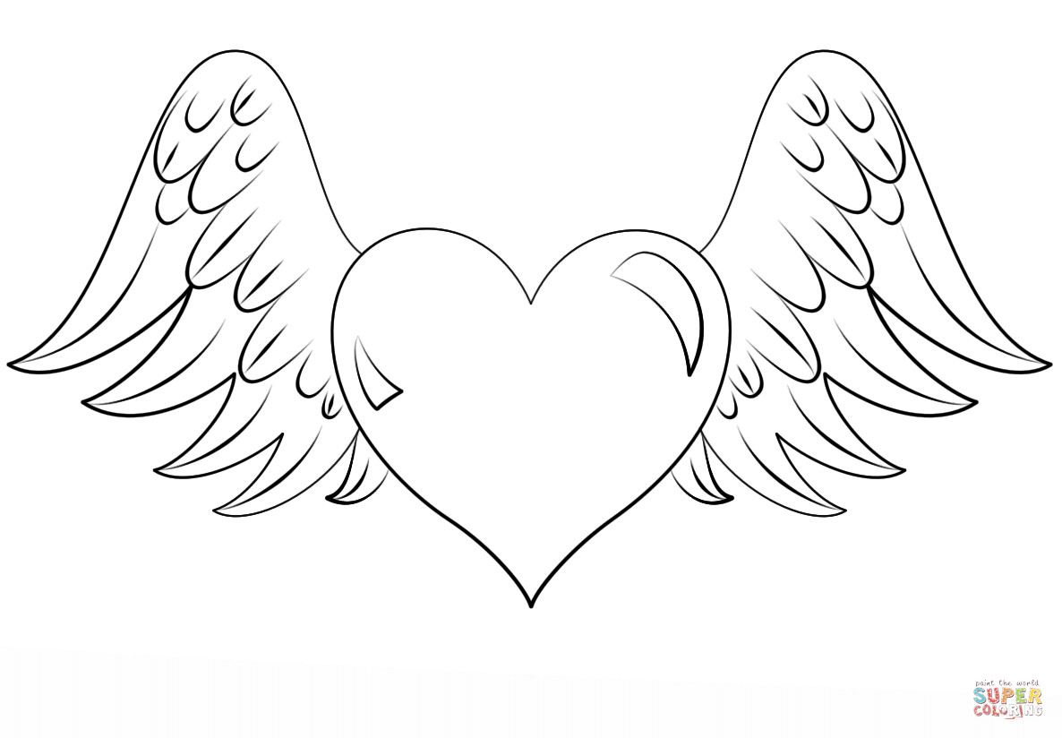 1186x824 Heart With Wings Coloring Page Free Printable Pages Lovely Hearts