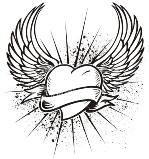 500x532 Heart With Wings Coloring Pages