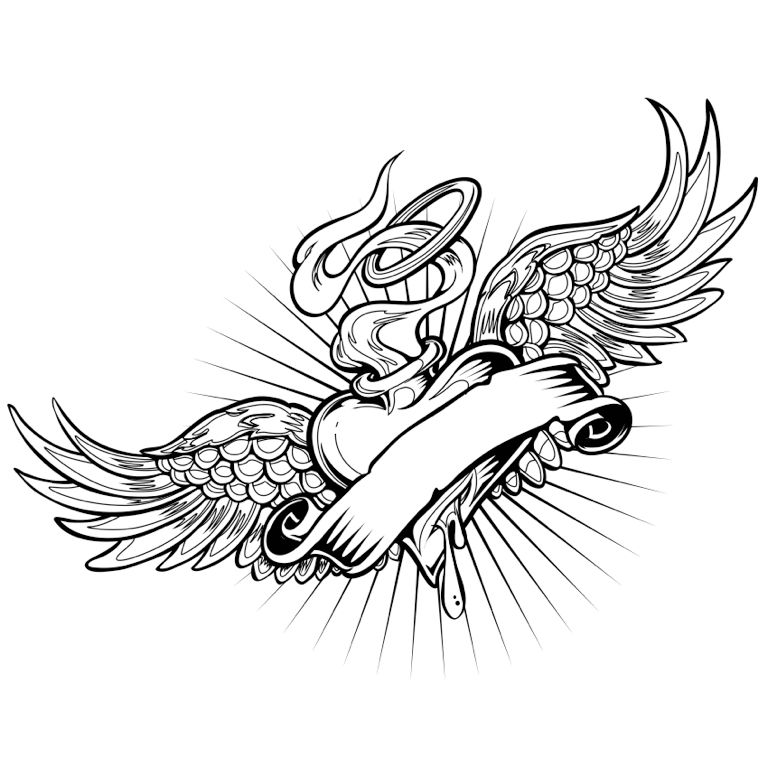 768x768 Heart With Wings Coloring Page Tattoo Colorfy App