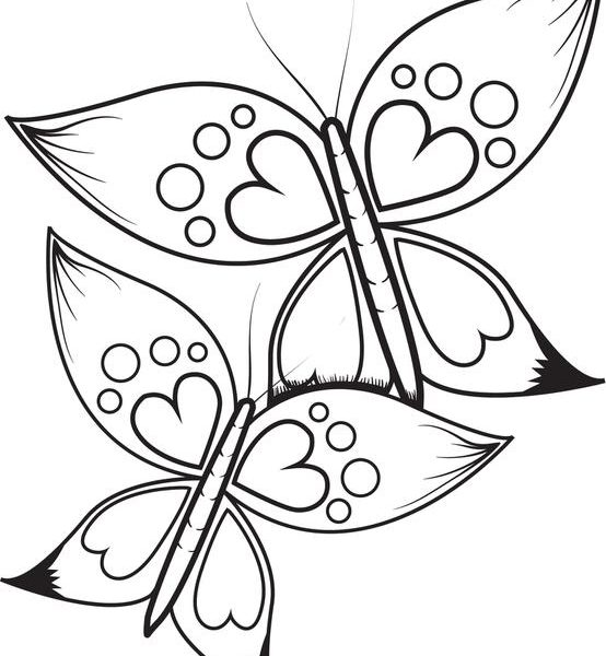 554x600 Hearts And Butterflies Coloring Pages Free Printable Butterflies
