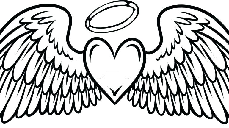 770x430 Hearts With Wings Hearts With Wings Coloring Pages Angel Wings