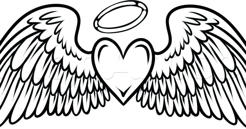 860x450 Astonishing Remarkable Angel Wings Coloring Pages Print Hearts