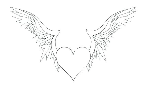 600x358 Coloring Pages Of Hearts With Wings