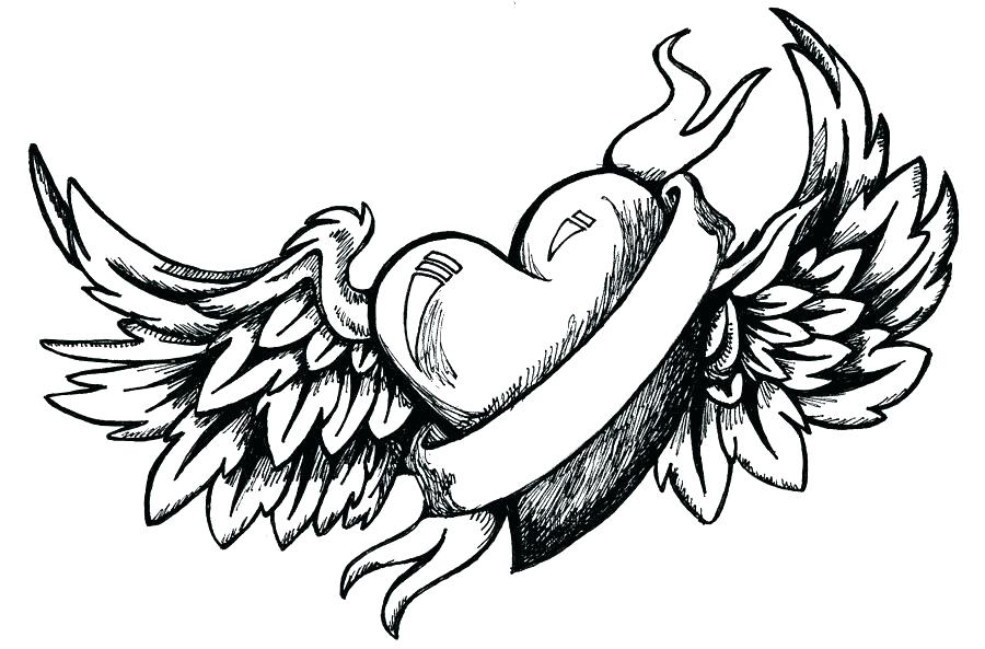 900x593 Coloring Pages Heart Hearts With Wings And Banner Printable