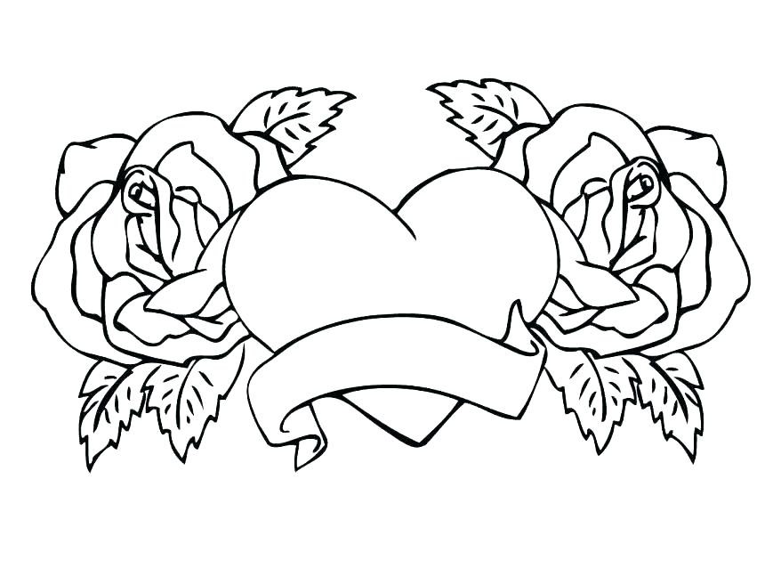 878x638 Coloring Pictures Of Hearts And Roses Coloring Pages Of Hearts