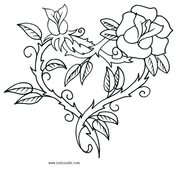 600x581 Heart And Rose Coloring Pages Printable Coloring Pages Of Roses