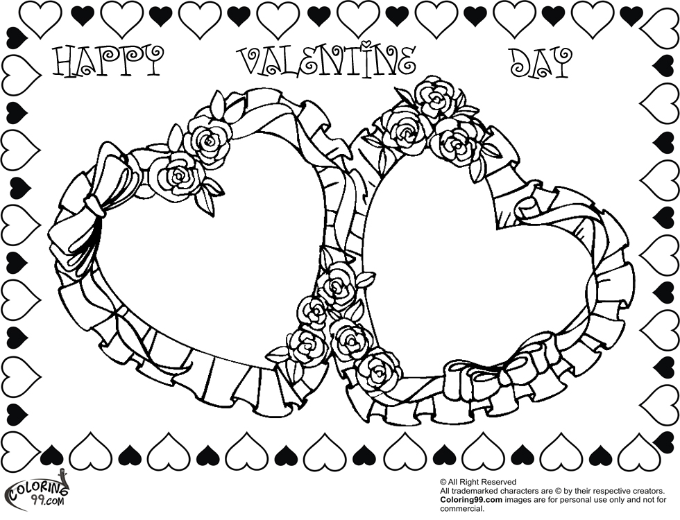 980x750 Hearts And Roses Coloring Pages Page Image Clipart Images