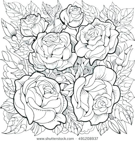 447x470 Roses Coloring Page Roses Hearts Coloring Pages Heart