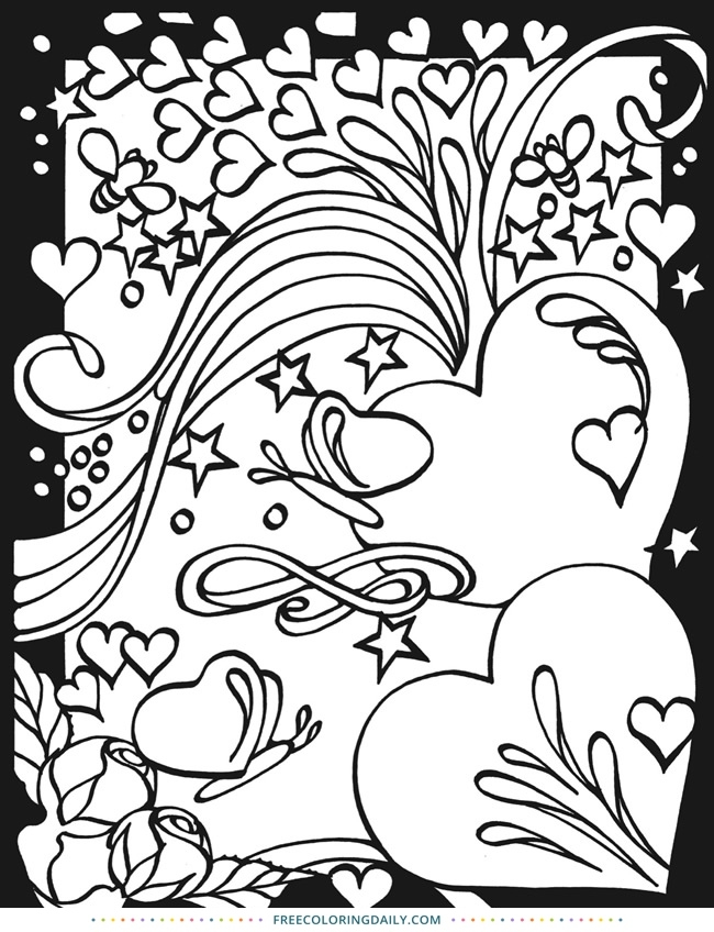 650x848 Free Hearts Stars Coloring Page Free Coloring Daily Intended