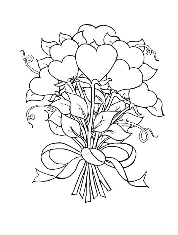 600x788 Hearts Stars Coloring Pages Beautiful Bouquet Of Hearts