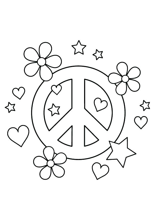595x842 Peace Sign Color Peace Signs Coloring Pages Hearts And Stars