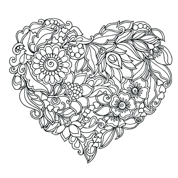 625x625 Coloring Pages Hearts Coloring Pages Of Flowers As Well As Adult