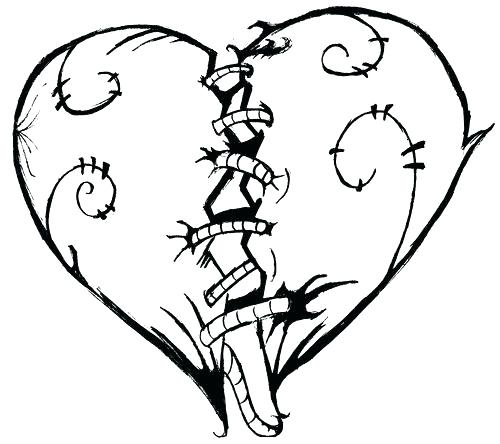 500x444 Double Heart Coloring Pages Valentine Adult Coloring Page