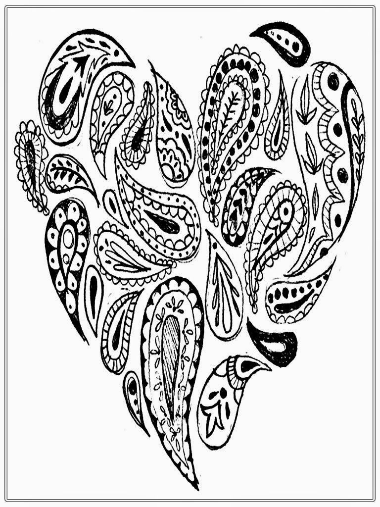 768x1024 Heart Adult Coloring Pages Hearts Adult Coloring