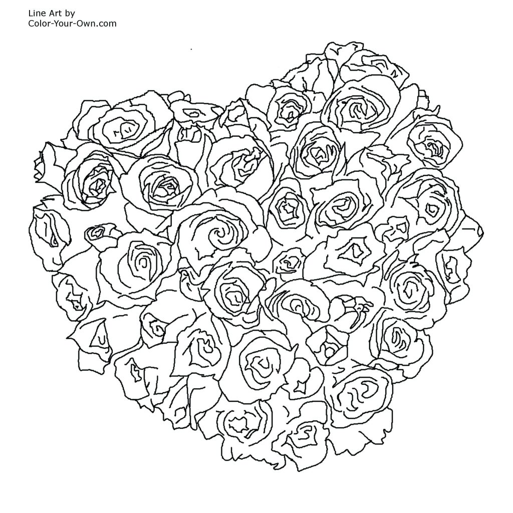 1024x1024 Coloring Pages Coloring Pages Of Roses Simple Printable
