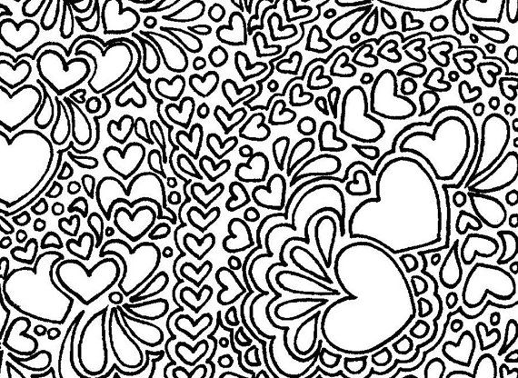 570x416 Abstract Hearts Printable Adult Coloring Page Adult Coloring