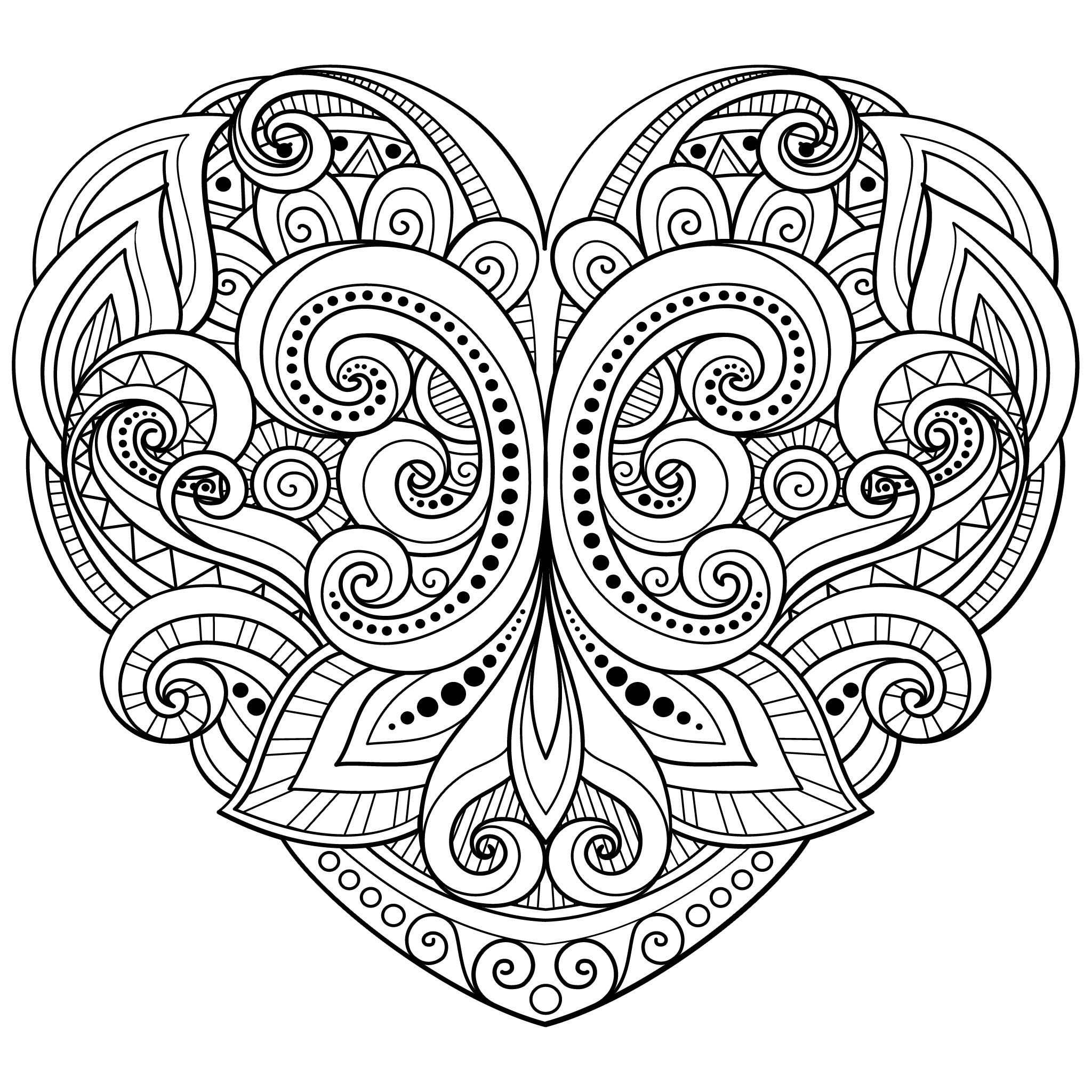 2048x2048 Color Pages Hearts Heart With Wings Coloring Page Free Printable