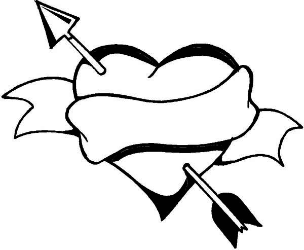 600x493 Heart And Arrow, A Classic Symbol On Valentine's Day Coloring Page