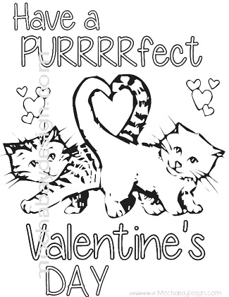 325x420 Cat Valentine Coloring Pages Printable Purrfect Cats With Heart