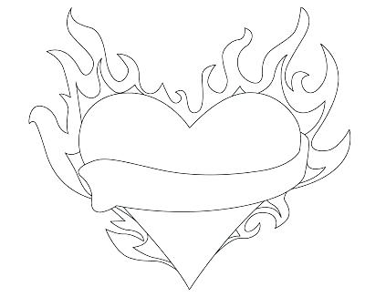 400x326 Flames Coloring Pages Coloring Pages Of Hearts On Fire Flame