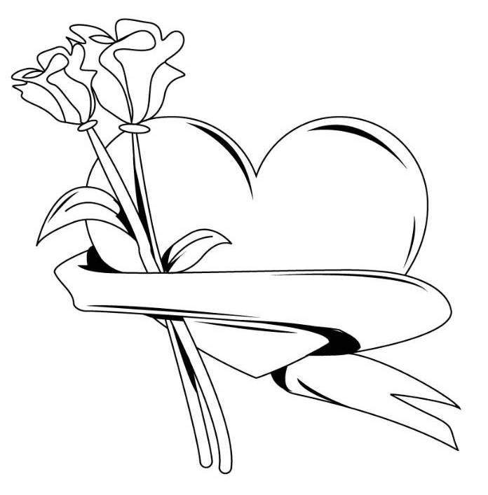 696x707 Flower And Hearts Coloring Pages