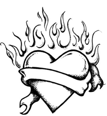 348x376 Heart With Flames Coloring Pages Of Hearts With Flames Abuv