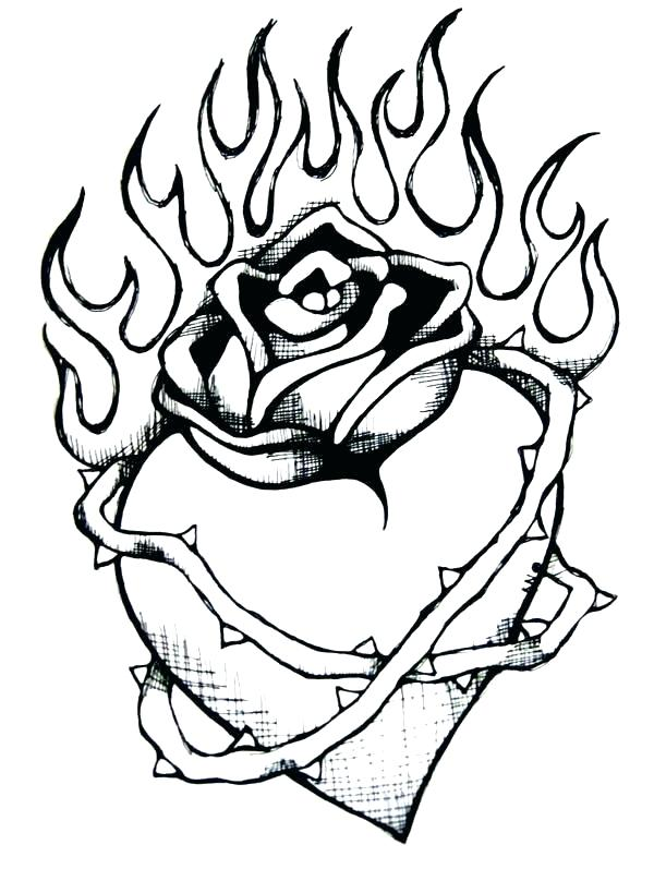 600x797 Rose Coloring Pages Hearts Coloring Pages Packed With Pin Drawn