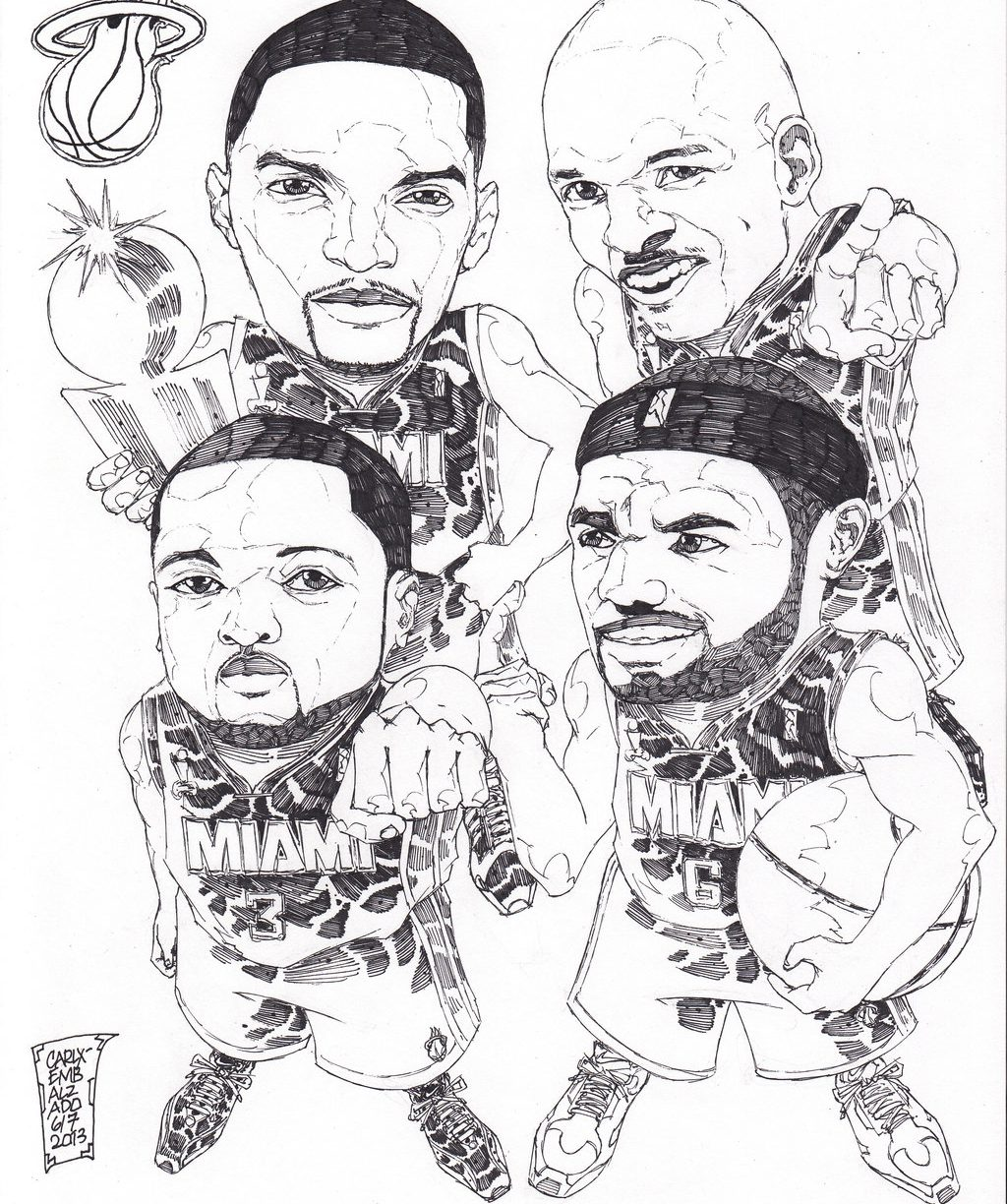 1024x1224 Basketball Teams Coloring Pages Free Miami Heat And Nba Logo