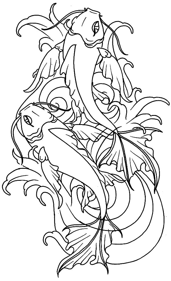 600x987 Koi Fish From Heaven Coloring Pages