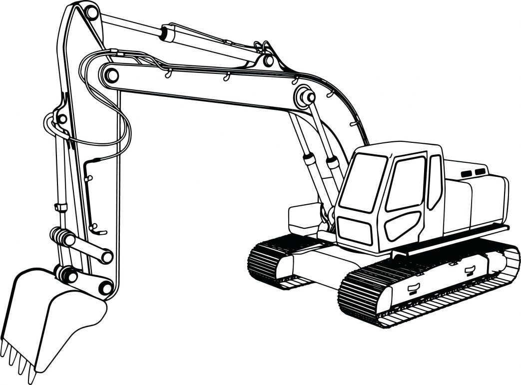 1043x771 Coloring Pages Christmas Caterpillar Excavator Hitochi Loader