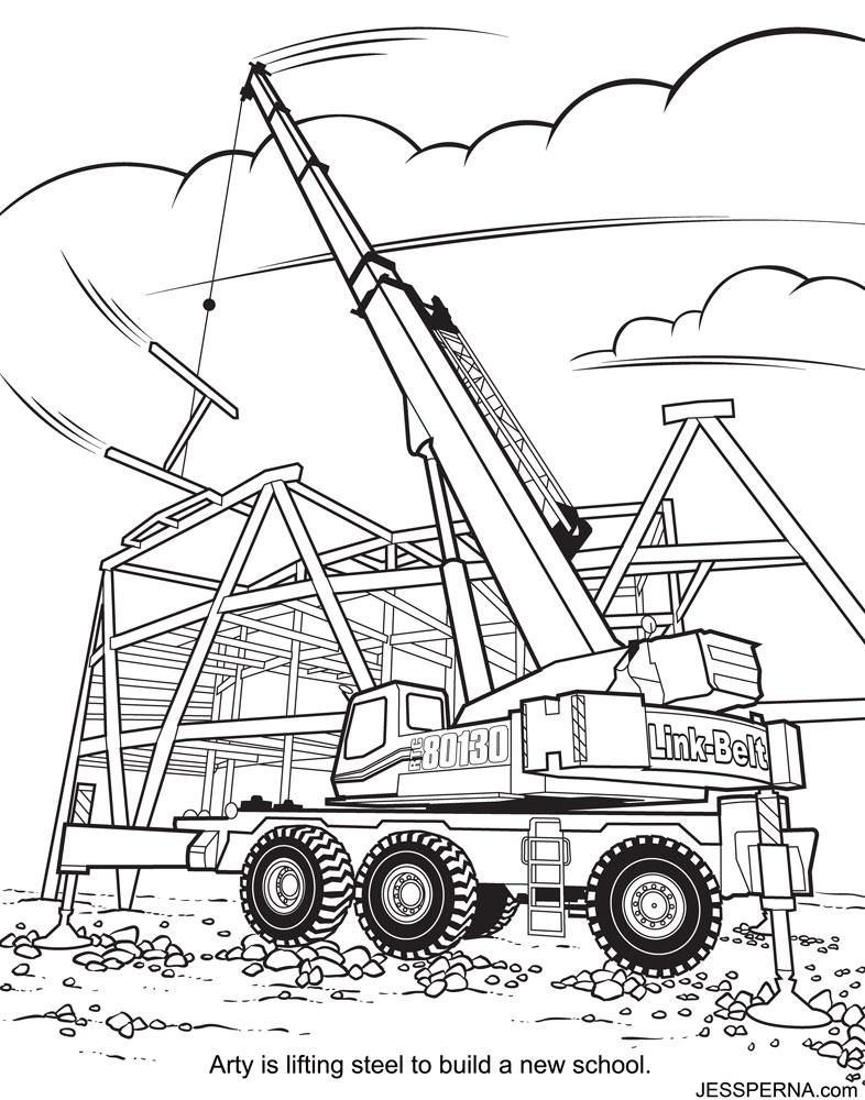 786x1000 Construction Crane Coloring Page