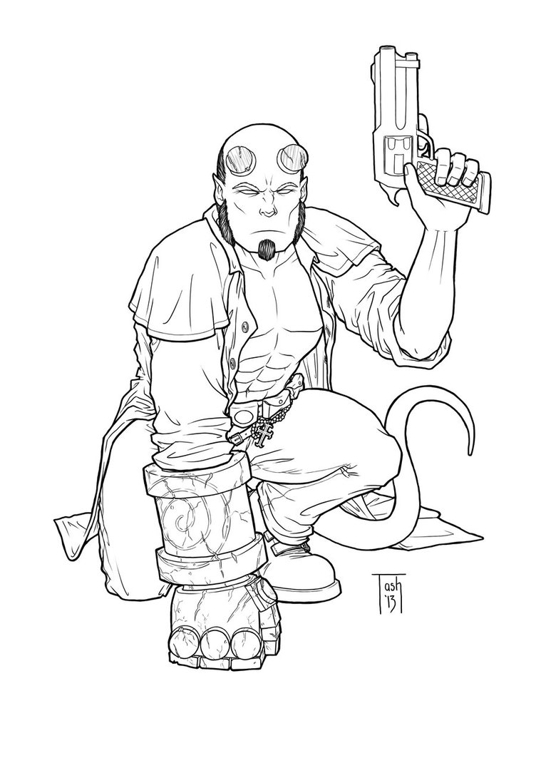 752x1063 Cool Hellboy Coloring Pages For Your With Hellboy Coloring