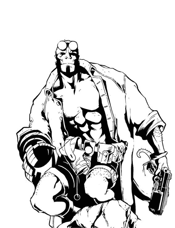 567x738 Hellboy Superheroes Printable Coloring Pages Hellboy Coloring